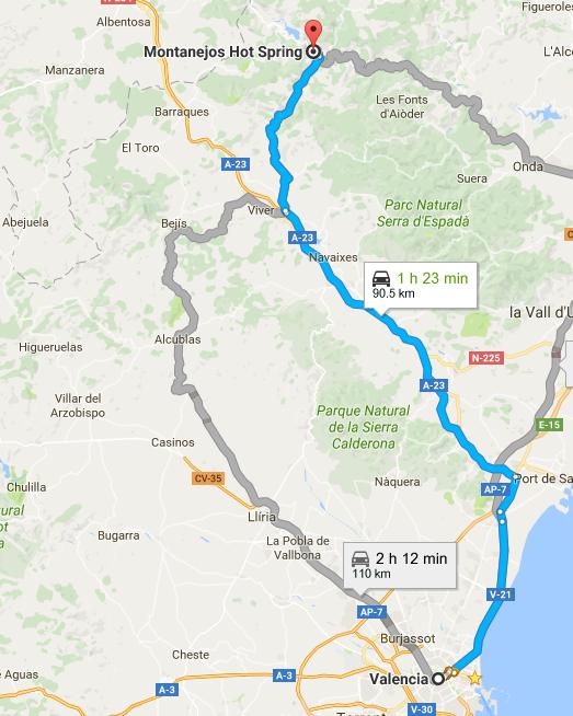 Valencia to Montanejos