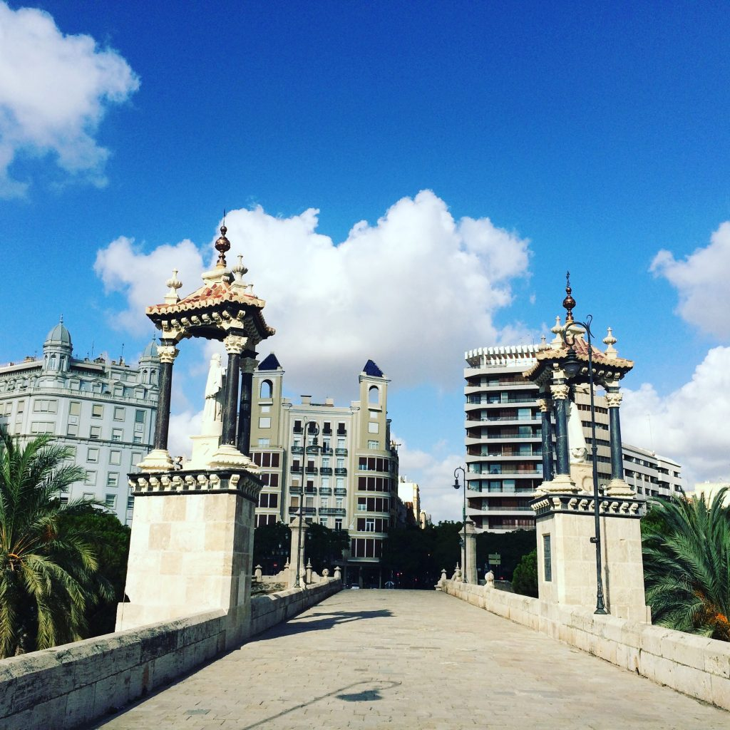 One of the many bridges that cross the riverbed in Valencia