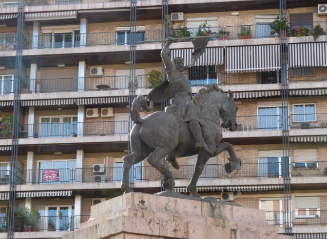 The Statue of El Cid in Valencia stands a little incongruously on the edge of the Plaza de España.