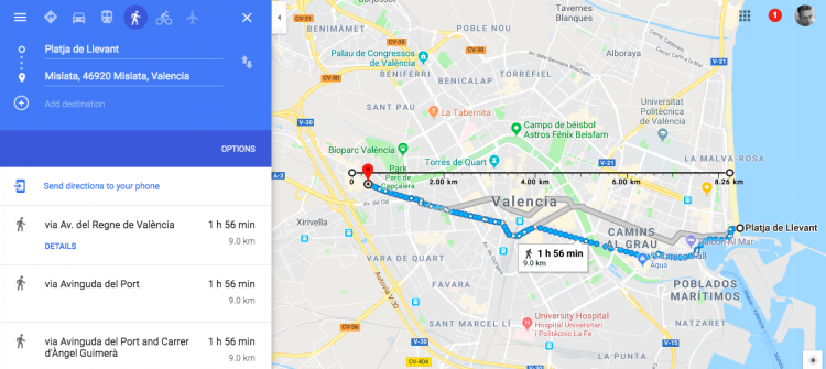 Walking across Valencia in under two hours