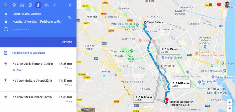 Walking From Ciutat Fallera to La Fe hospital