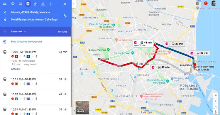 Metro Across Valencia is 40 minutes