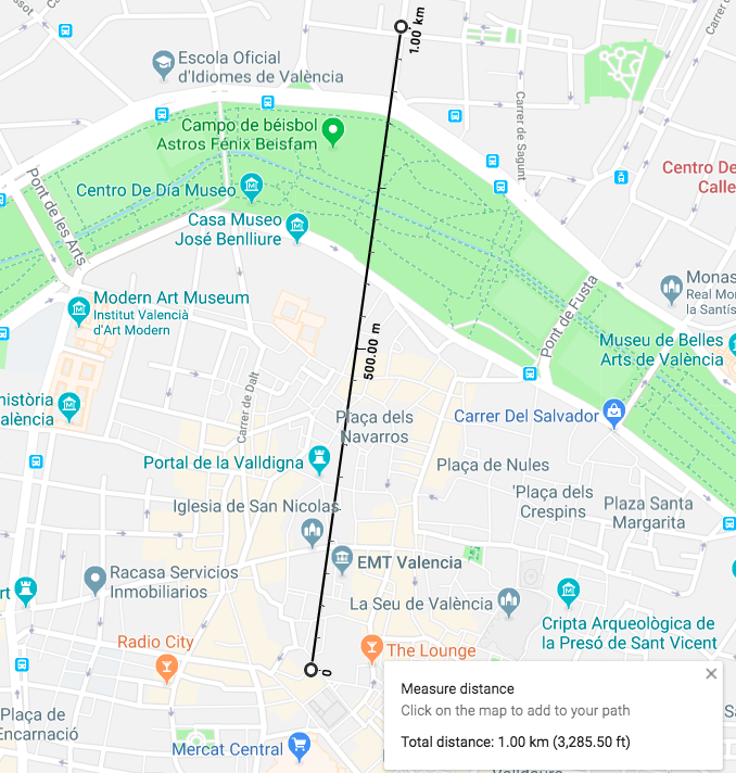 Distance from Valencia central market to La Zaidia