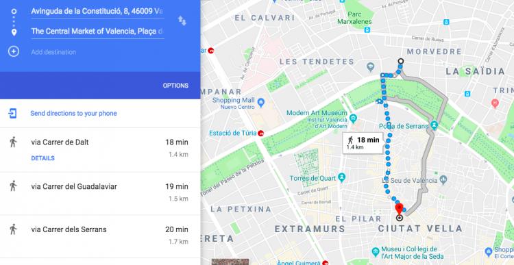 Walking From La Zaidia to Central Market in Valencia