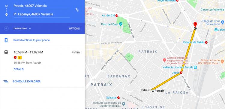 Patraix to Plaza de Espana on the metro in four minutes.