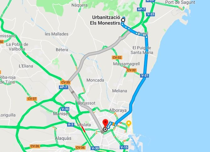 Monasterios to Valencia Driving Times