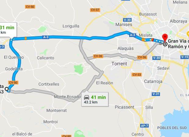 Turis to Valencia Driving Times
