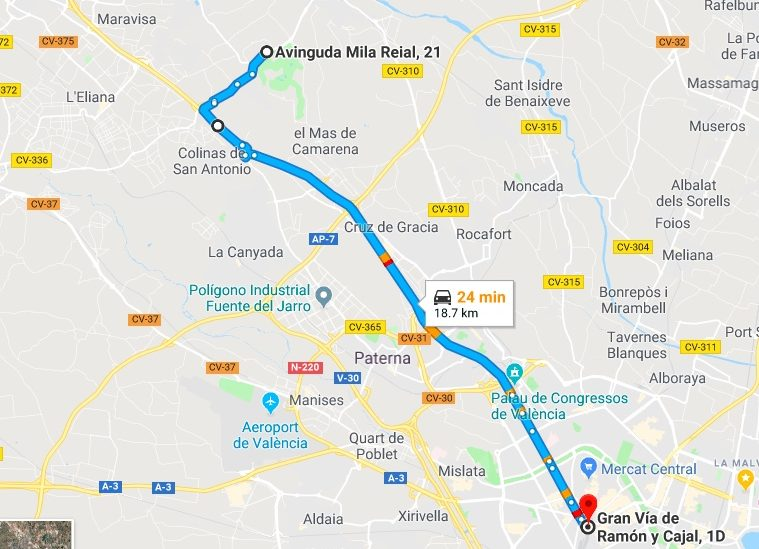 Betera to Valencia Driving Times
