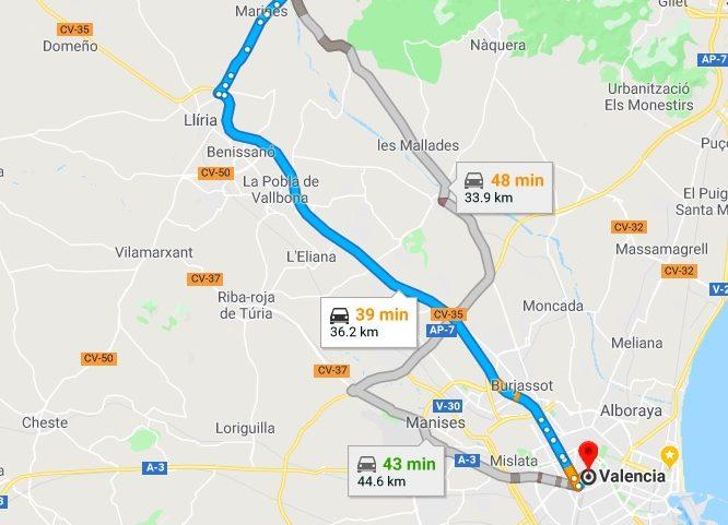 Olocau to Valencia Driving Times