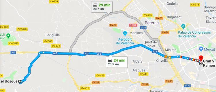 El Bosque to Valencia Driving Time