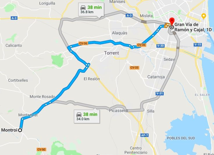 Montroy to Valencia Driving Times