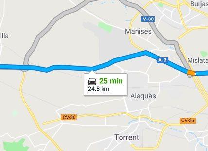 Calicanto to Valencia Driving Times