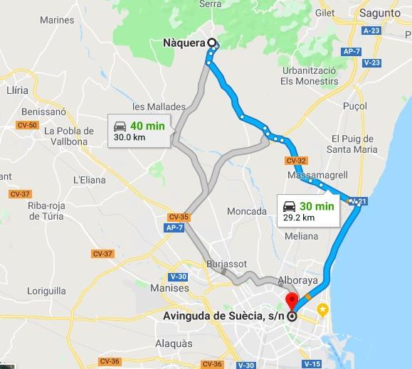 Driving Time Naquera to Valencia