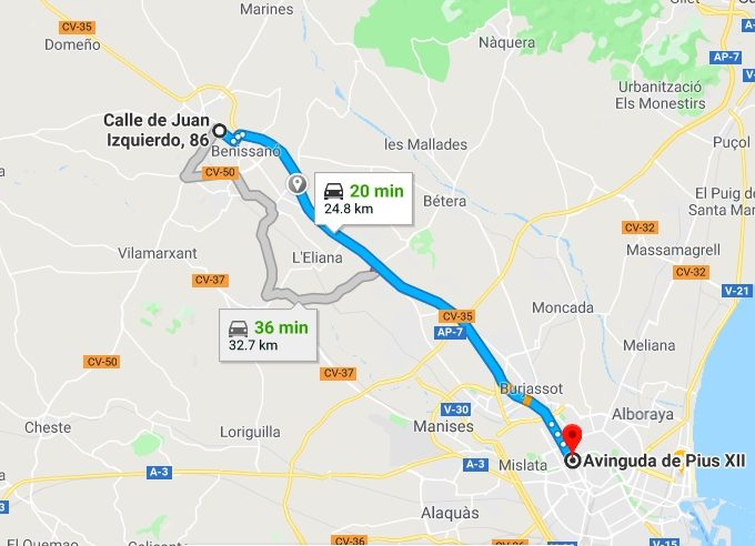 Lliria to Valencia Driving Times