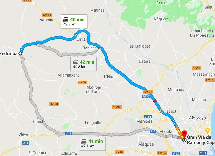 Pedralba to Valencia Driving Times