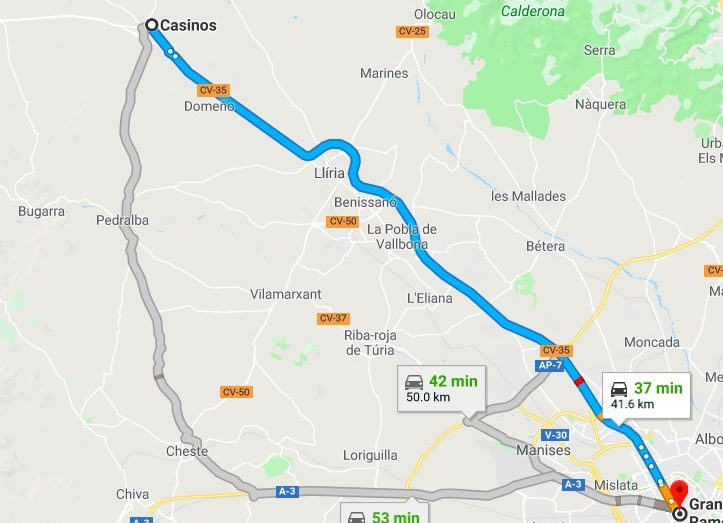 Casinos To Valencia Driving Times