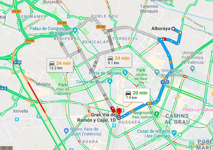 Alboraya to Valencia Driving Times