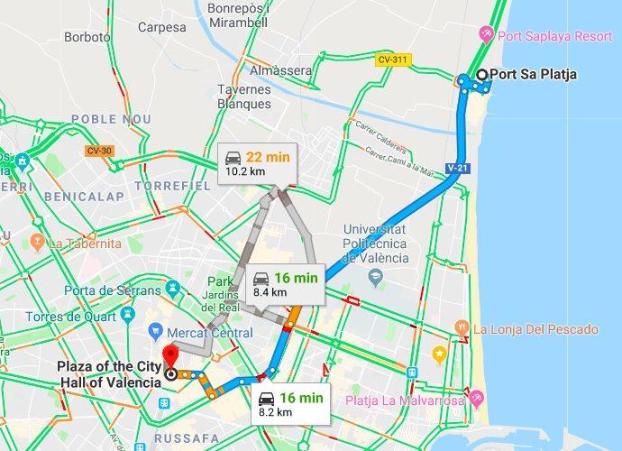 Port Saplaya to Valencia Driving Times