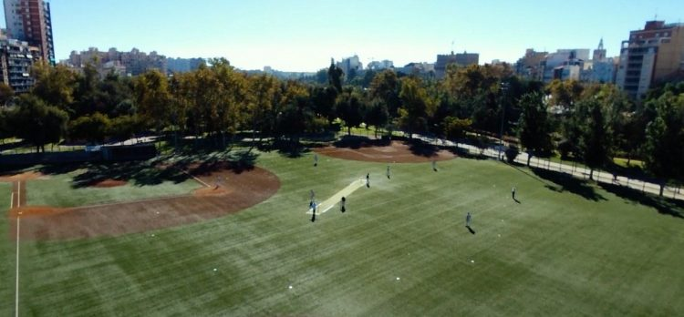 Cricket Being Played at the Baseball Ground in Valencia