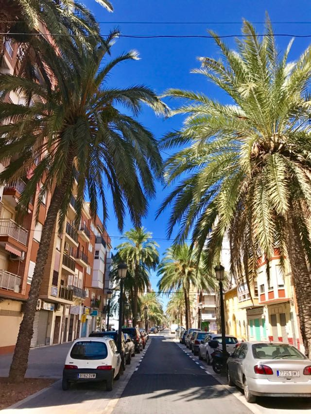 Calle Barraca in the Cabanyal is Developing into a Palm Fringed Pavement Cafe Area
