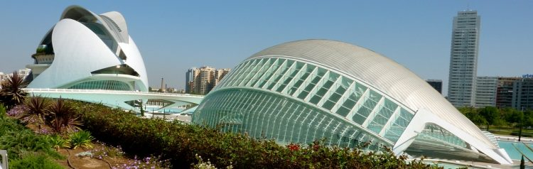 City of Arts and Sciences in Valencia with the Torre de Francia in the background
