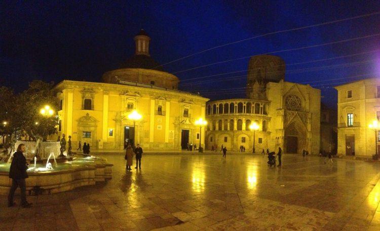 Plaza de la Virgen in Valencia with Valencia Cathedral in the Background