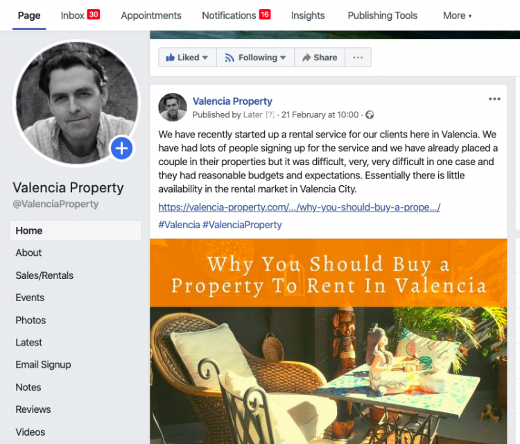 The Valencia Property Facebook page