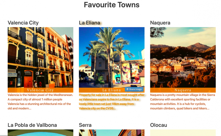 Favourite Towns on Valencia Property Website
