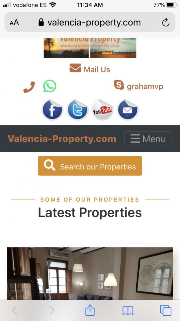 Initial Mobile View of Valencia Property Homepage